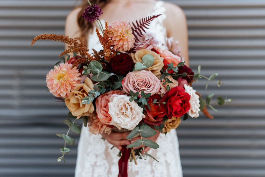 Fall wedding bouquet rust gold dusty rose