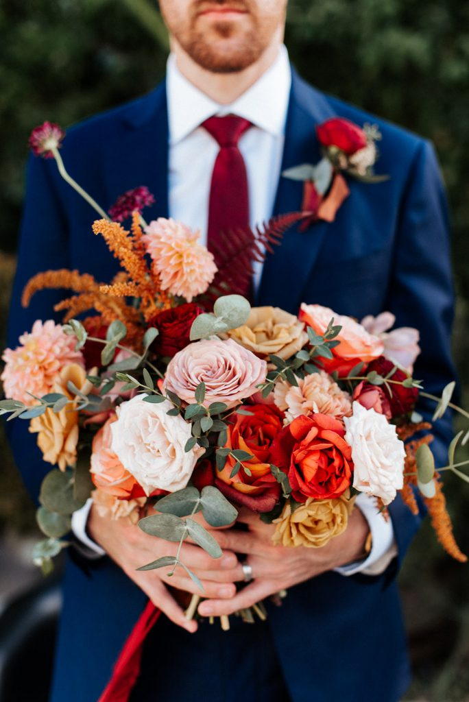 Fall wedding bouquet rust gold
