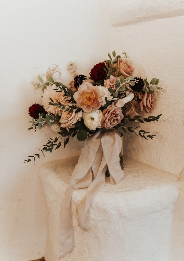 Boho mauve neutral bridal bouquet