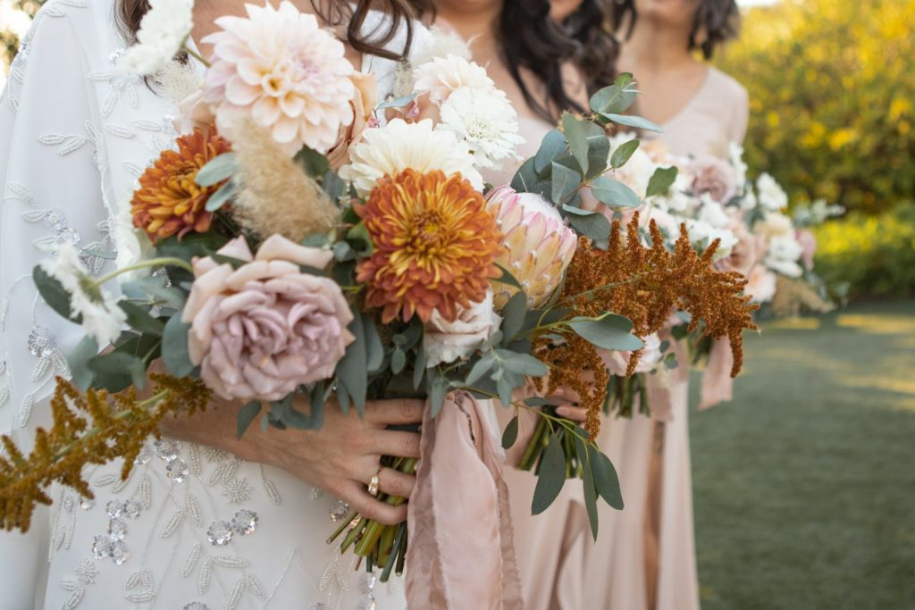 boho wedding bouquet at ethereal gardens