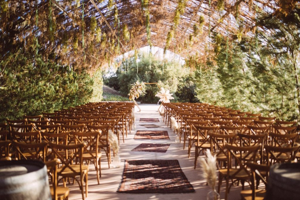 Pampas grass wedding hexagon arch at ethereal gardens