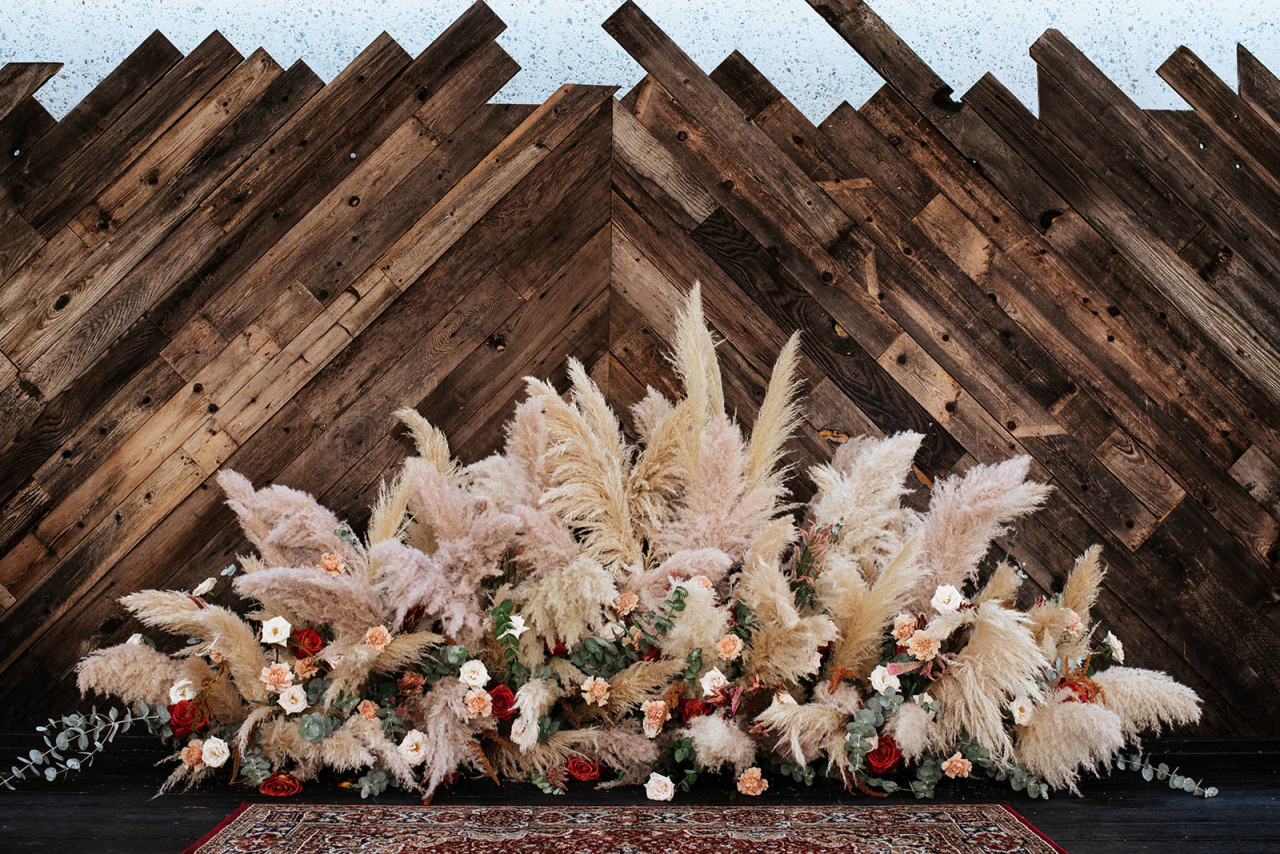 Pampas grass wedding installation