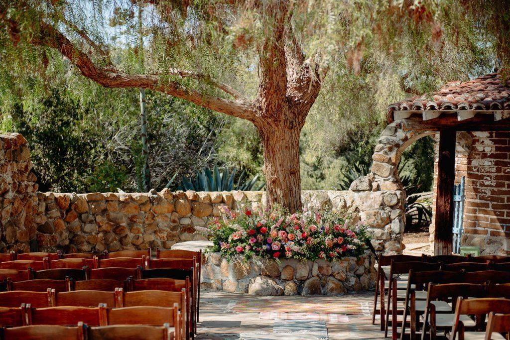 leo carrillo ranch wedding tree decor
