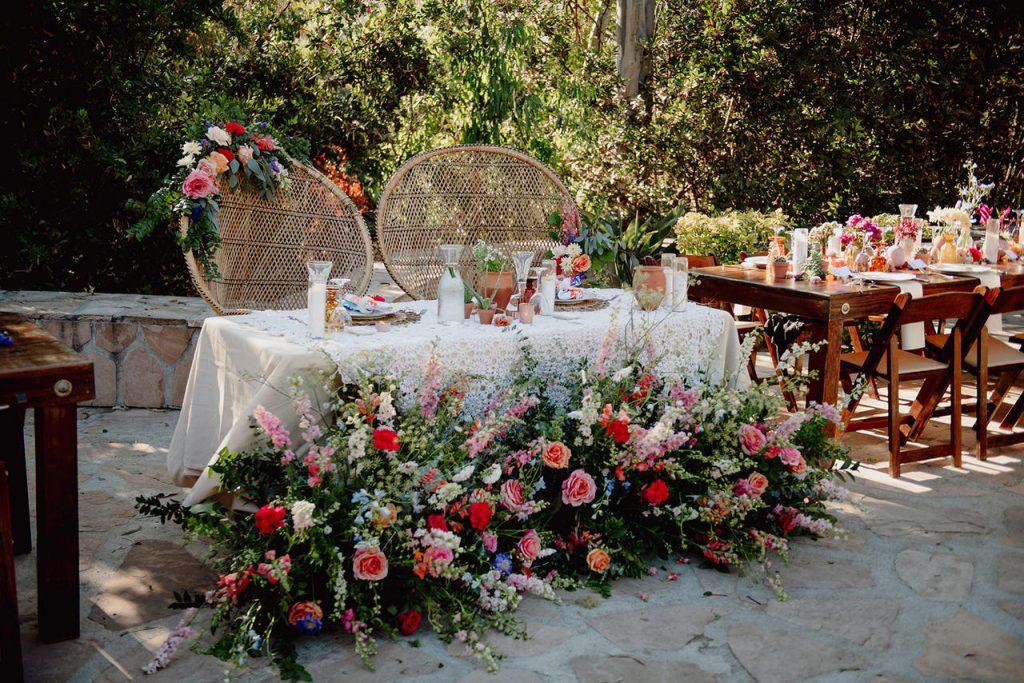 colorful sweetheart table wildflower boho