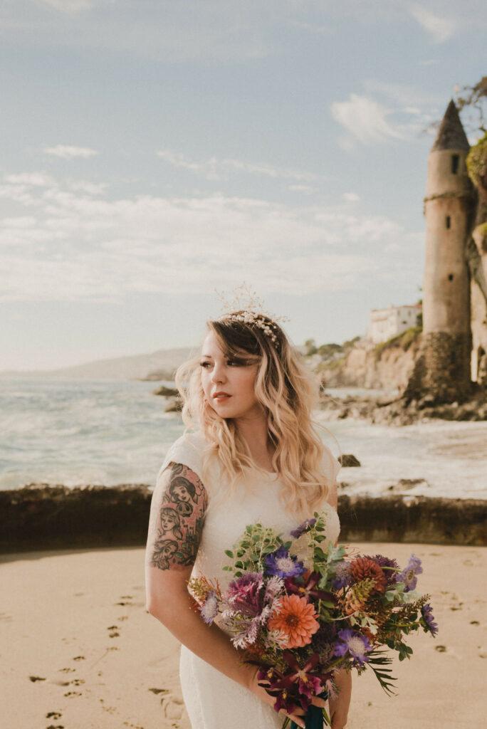 little mermaid Disney princess bridal look by madeline barr and tiff mink